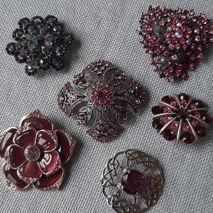 Brooch bundle, purple & pink